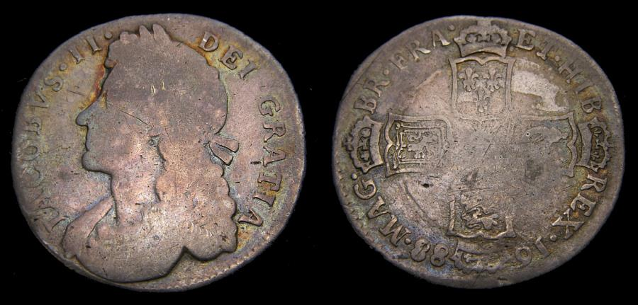 Ancient Coins - 1688 Great Britain Silver Shilling Rare In Any Condition (Approx. 270 in Fine) S-3410 VG+ 6304