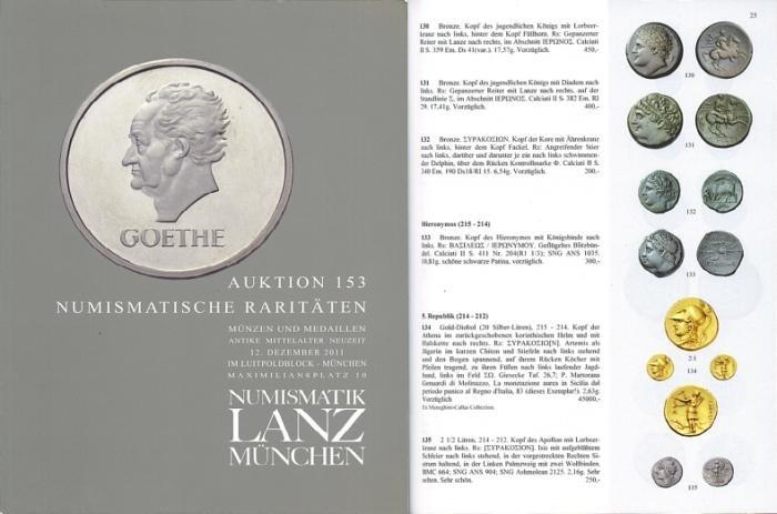 Ancient Coins - Numismatik Lanz Auktion 153 - December 12, 2011 - Numismatische Raritaten - Lanz 153 Auction Catalogue - Rare Numismatics - Ancient Greek, Roman and Byzantine Coins - PRL