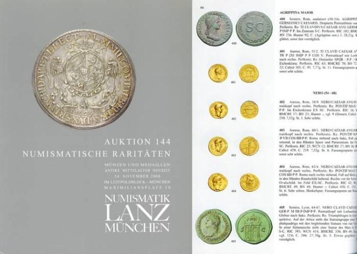 Ancient Coins - Lanz Auction 144 - Numismatische Raritaten - November 24, 2008 - Numismatic Rarities - Ancient and Medieval Coins