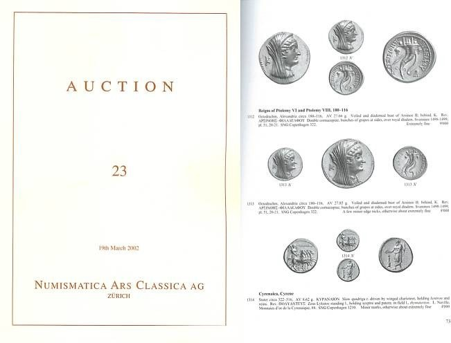 Ancient Coins - Numismatica Ars Classica (NAC) Auction 23 - March 19, 2002 - Greek, Roman and Byzantine Coins