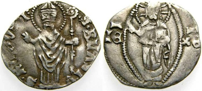 Ancient Coins - Dalmatia, RAGUSA - Dubrovnik, Republic, Silver Grosso (1.10 gr., 18 mm.), Late 14th Century, VF Toned