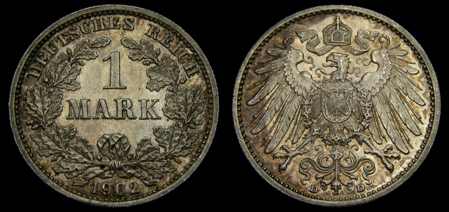 Ancient Coins - Germany 1902-D Mark .900 Silver .1606 oz KM#14 UNC
