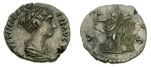 Ancient Coins - Faustina Junior, Augusta, A.D. 147-175, AR Denarius (16 mm, 2.24 gm., 5h), Rome mint, Struck under Antoninus Pius, circa A.D. 147-150 Good VF+ Artistic Portrait