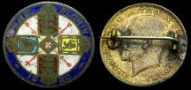 Ancient Coins - 1920 British One Florin Enameled Pin King George V Good/VF 6283