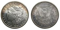 Us Coins - United States Moragan Silver Dollar 1881-S Light Toning Choice BU San Francisco Mint