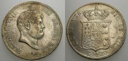 World Coins - ITALIAN STATES, NAPLES & SICILY 1856, 120 Grana, Ferdinand II, Adjustment Marks XF/AU