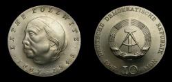 World Coins - Germany 1967 Democratic Republic 10 Mark, Kathe Kollwitz, KM-17.1, BU