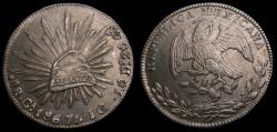 Ancient Coins - Mexico 1867CaJG 8 Reales Chihuahua Mint .903 .7859 Oz. Very Scarce Issue KM#377.2 AU++