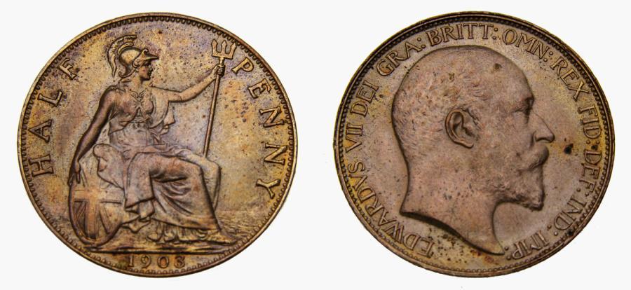 Ancient Coins - 1903 Great Britain Half Penny KM#793.2 UNC