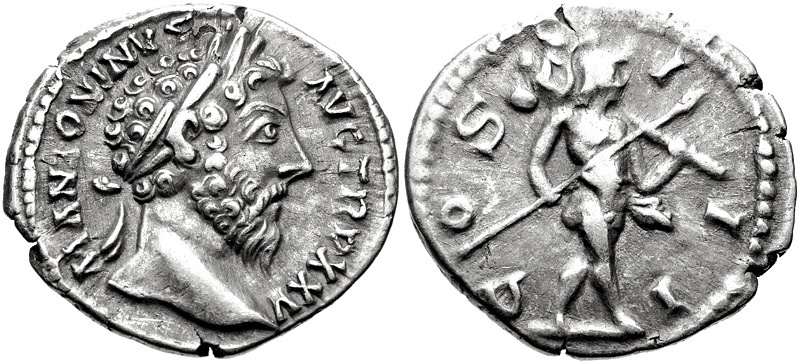 Ancient Coins - Marcus Aurelius, A.D. 161-180, AR Denarius (19 mm, 3.36 gm., 12h), Rome mint. Struck A.D. 171 Good VF/VF Choice Portrait