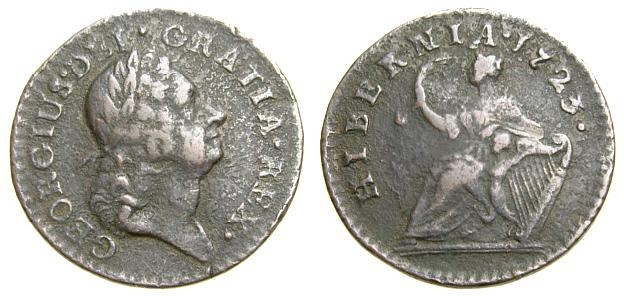 Ancient Coins - IRELAND, George I, 1714-1727, Æ Farthing, (21 mm, 3.51 gm., 6h), William Wood's coinage, Dated 1723 VF US Colonial Coinage
