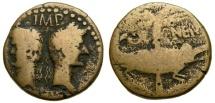Ancient Coins - GAUL, Nemausus, Augustus, with Agrippa, 27 B.C.-A.D. 14, Æ As (25 mm, 10.80 gm., 8h). Struck circa 9/8-3 B.C. Good Fine Crocodile