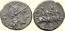 Ancient Coins - Roman Republic, CN. LUCRETIUS TRIO, 135 BC, AR Denarius EF Dioscuri