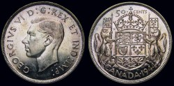 World Coins - CANADA, George VI, 1936-1952, Silver 50 Cents, 1944 - MS-62 Toning