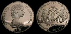 World Coins - 1978 Saint Helena Silver Anniversary of the Coronation One Crown .925 .841 Oz. KM# 7 Proof