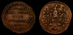 World Coins - Netherlands 1660 Low Countries Copper Jeton (6.01g, 29mm, 1h) Bruxelles Jean Baptise Larchier Good VF