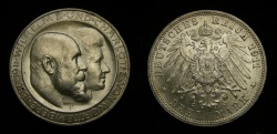 World Coins - Germany, Wurttemberg, 3 mark, 1911-F, obv: Conjoined Busts, rev: Crowned Imperial Eagle, KM-636, UNC
