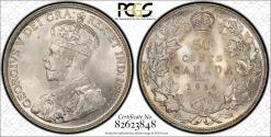 World Coins - Canada 1934 50 Cents PCGS Certified MS65 Gold Shield Very Rare in Brilliant Uncirculated Low Mintage 39,539