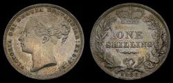 World Coins - 1886 Great Britain Victoria 1839-1901 Silver Shilling S-3907 Toned EF+ 6313