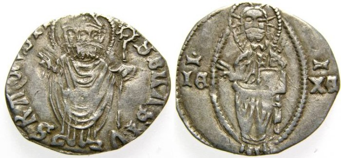 Ancient Coins - Dalmatia, RAGUSA - Dubrovnik, Republic, Silver Grosso (0.97 gr., 18 mm.), Late 14th Century, VF Toned