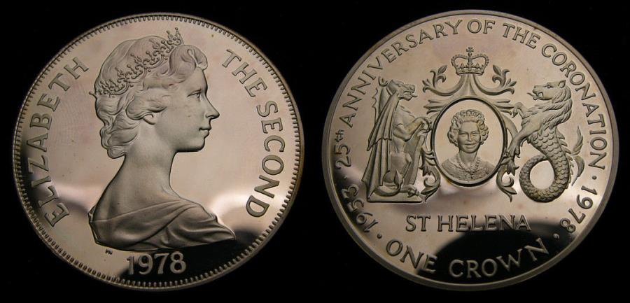 Ancient Coins - 1978 Saint Helena Silver Anniversary of the Coronation One Crown .925 .841 Oz. KM# 7 Proof