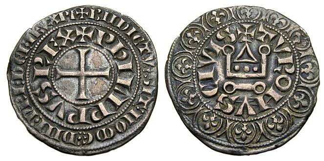 World Coins - FRANCE, Philip IV le Bel, 1285-1314, AR Gros Tournois (25 mm, 3.83 gm., 1h), Struck 1285-1290. Good VF+