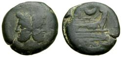 Ancient Coins - Roman Republic, Anonymous, 207 B.C. Æ As (36 mm, 39.54 gm., 12h), Sextantal standard, Rome(?) mint VF
