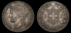 World Coins - 1891 Switzerland 5 Francs KM#34 VF+