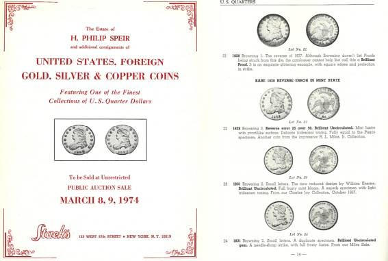 US Coins - Stack's Public Auction Sale - March 8, 9, 1974 - The Estate of H. Philip Spier United States, Foreign Gold, Silver & Copper Coins - Finest Collection of US Quarter Dollars - PRL