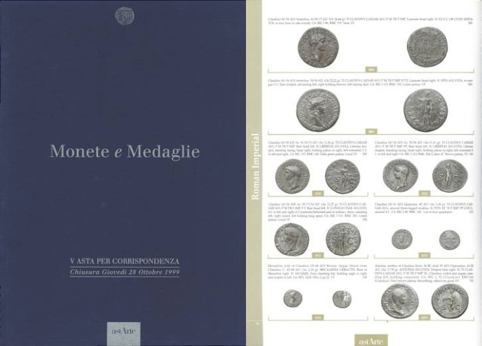 Ancient Coins - Astarte, Lugano, Sale V - October 28, 1999 - Monete Medaglie - Greek Coins - Roman Republican Coins - Roman Imperial Coins