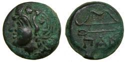 Ancient Coins - Cimmerian Bosporos Pantikapaion Circa 304-250BC Æ Unit (20 mm, 6.08g, 1h) Good VF+ Satyr