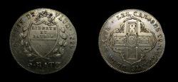 World Coins - SWITZERLAND CANTON VAUD 5 BATZEN 1829, KM-20, STRUCK ON EARLIER COIN, AU+
