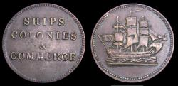 Ancient Coins - Tokens of Prince Edward Island Ship Colonies 8 Commerce Token VF+ PE10-28/32 6338