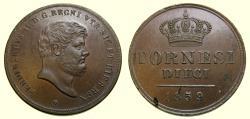World Coins - Italian States, Naples & Sicily, Ferdinand II, 1830-1859, 10 Tornesi Dated 1859 KM#369 AU+ Flan Flaw