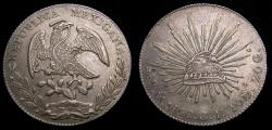 Ancient Coins - Mexico 1868CH First Republic 8 Reales .903 .7859 Oz. ASW KM#377.10 AU++ 6350