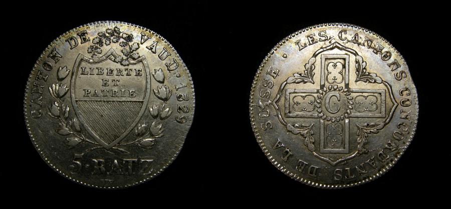 Ancient Coins - SWITZERLAND CANTON VAUD 5 BATZEN 1829, KM-20, STRUCK ON EARLIER COIN, AU+