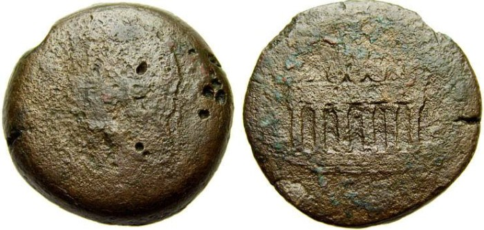 Ancient Coins - EGYPT, Alexandria, Antoninus Pius, 138-161 A.D. Æ Drachm (32 mm, 27.72 gm.) Good/VG Altar of Agathodaimon