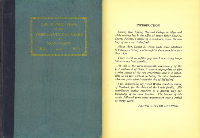 World Coins - One Hundred Years of the York National Bank of Saco, Maine 1831-1931 by Frank Cutter Deering
