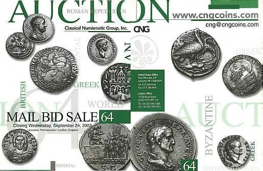 Ancient Coins - Classical Numismatic Group CNG 64 - September 24, 2003 - Auction Catalogue - Judaean - Roman Imperatorial and Augustan - English Coins