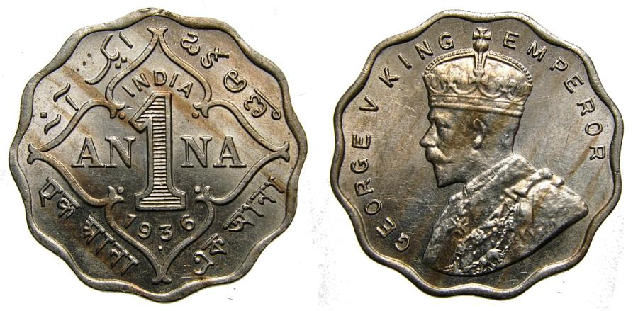 Ancient Coins - British India, 1936 Anna, Bombay Mint UNC KM# 513 King George V