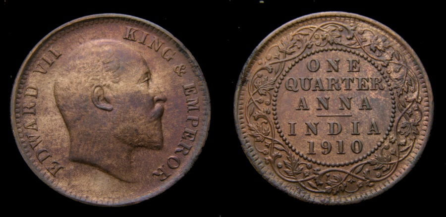 Ancient Coins - India 1910 1/4 Anna King Edward VII KM#502 UNC