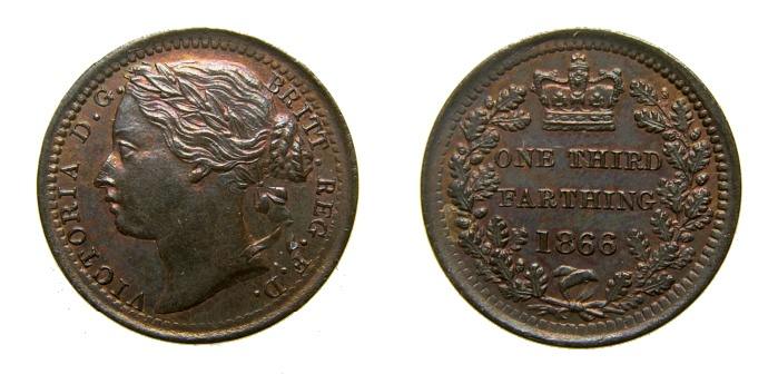 Ancient Coins - Great Britain 1866 1/3 Farthing, Rainbow Toning, KM-750 UNC