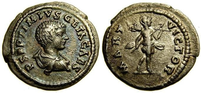 Ancient Coins - GETA, As Caesar, 198-209 A.D. AR Denarius (20 mm, 3.20 gm., 12h), Laodicea mint, Struck circa 202 A.D. Good VF+