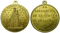 World Coins - Chile, Coronation of Virgin of Andacollo, 1900, Gilt Medal (32 mm, 12.95 gm., 12h) EF Nuestra Señora de Andacollo