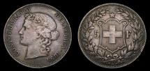 World Coins - Switzerland 1894 5 Francs KM#34 Very Scarce Issue Mintage only 34,000 Fine+ Condition