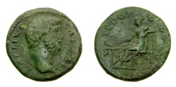 Ancient Coins - Aelius, Caesar, A.D. 136-138, Æ As ( 25 mm, 11.78 gm., 6h), Rome mint, Struck under Hadrian, A.D. 137 Fine+ Salus