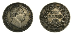 World Coins - BRITISH INDIA 1835, ONE RUPEE, KING WILLIAM IV, GOOD VF+