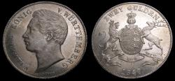 Ancient Coins - Germany 1847 Wurttemberg 2 Golden .900 .6137 Davenport 957 KM#595 AU/MS 6345