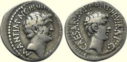 Ancient Coins - MARK ANTONY and OCTAVIAN, M. Barbatius Pollio, quaestor pro praetore, 41 BC, AR Denarius (18 mm, 3.73 g, 12h). Ephesus, VF
