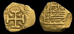 Ancient Coins - Spain Seville Philip IV 1621-65 Gold Cob 2 Escudos (4.17 Gm) Full Cross Nice Details VF 6364